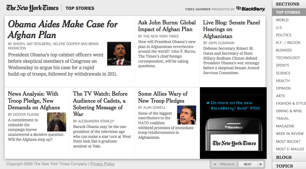 A screenshot of the New York Times Skimmer