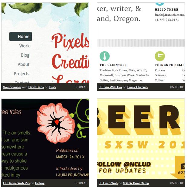 Screenshot of the Typekit Gallery