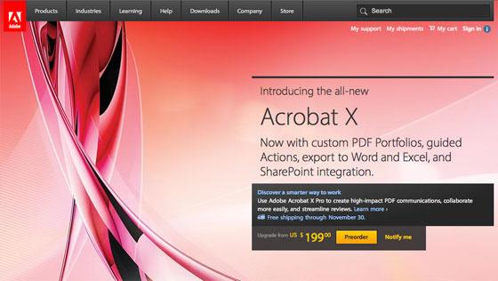 Screenshot of Adobe.com