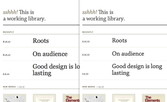 Screenshot of before and after fonts have loaded on the blog A Working Library