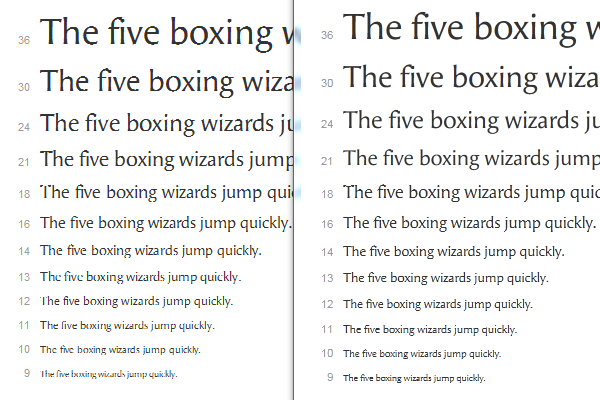The same font rendered with GDI's ClearType (left) and DirectWrite's symmetric ClearType (right). Compare the sizes 10, 12 and 13 where the improvements are quite significant.