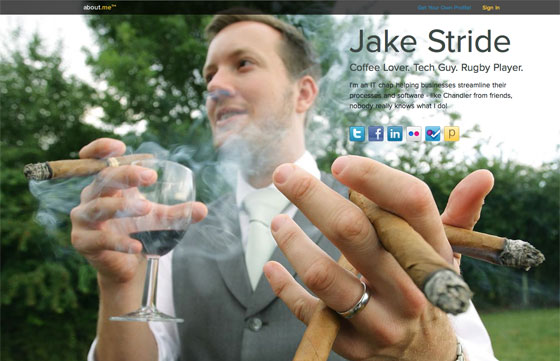 The about.me page for Jake Stride
