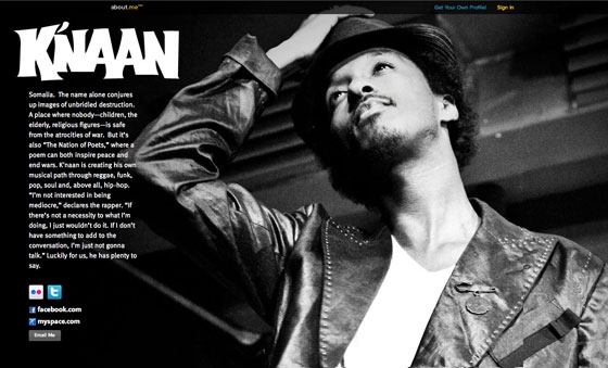 About.me page for K'naan