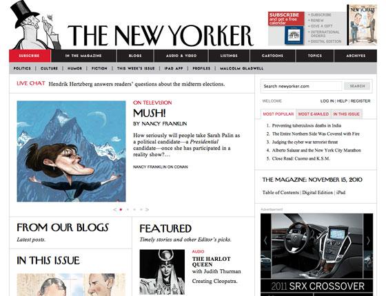 Screenshot of the New Yorker homepage