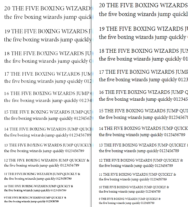 OpenType/CFF font rendered with GDI's antialiased grayscale (left) --GDI's ClearType can't render OT/CFF outlines-- and DirectWrite's ClearType (right).