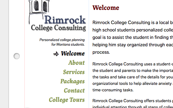 Navigation for Rimrock College Consulting with web fonts active