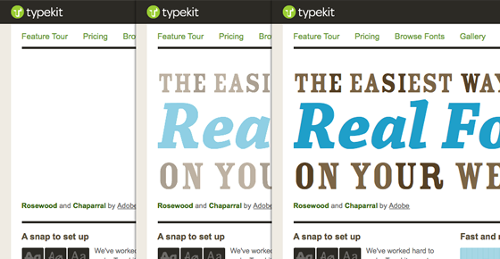 Screenshot of the promo on the Typekit homepage fading in after fonts have loaded