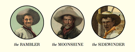 Screenshot of the hats on the Cowpoke's site