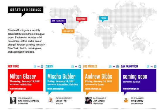Screenshot of Creative Mornings website