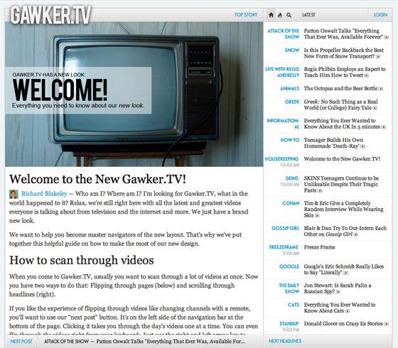 Screenshot of the new Gawker.tv