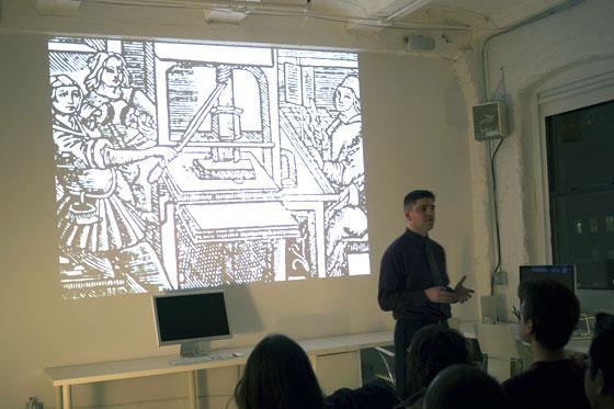 Photo of Tim Brown speaking in Brooklyn