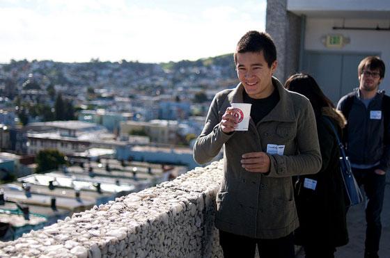 Photo showing people on the Typekit balcony overlooking San Francisco