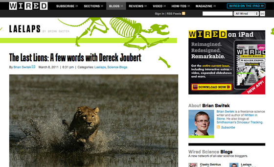 Screenshot of the redesign science blogs on Wired