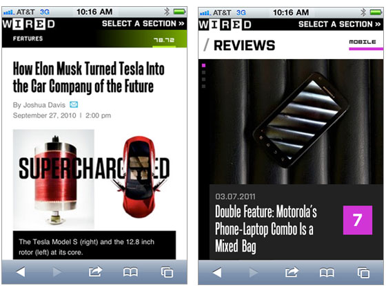 Screenshots of Wired mobile