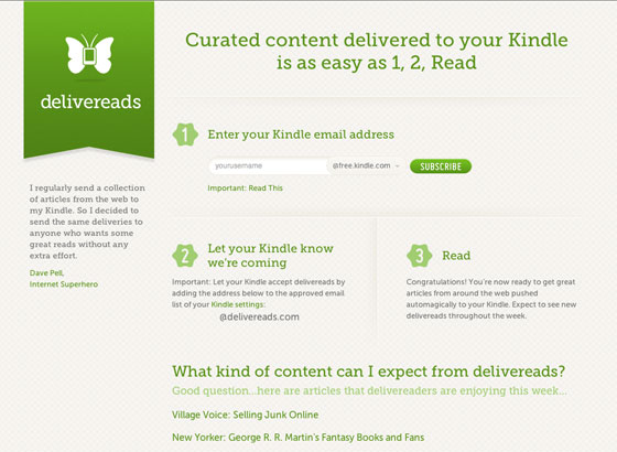 Screenshot of Delivereads