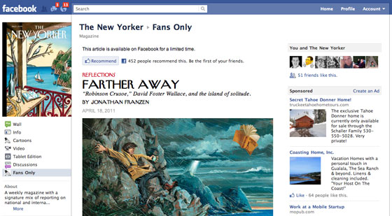 Screenshot of the New Yorker article on Facebook