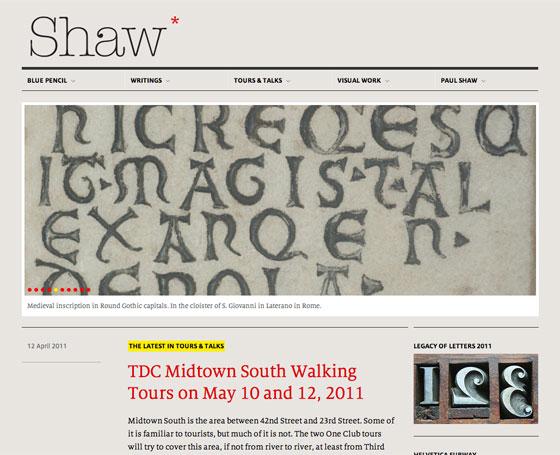 Screenshot of Paul Shaw Lettering Design