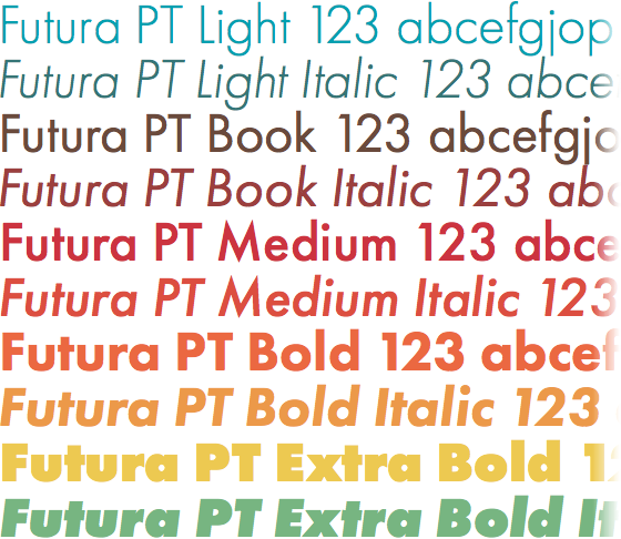 Futura PT weights & styles