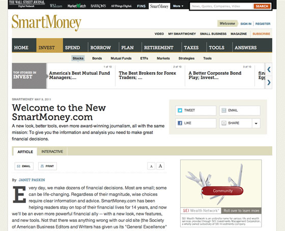 An article page on the new SmartMoney