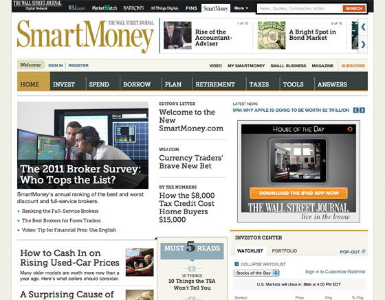 The homepage of the new SmartMoney