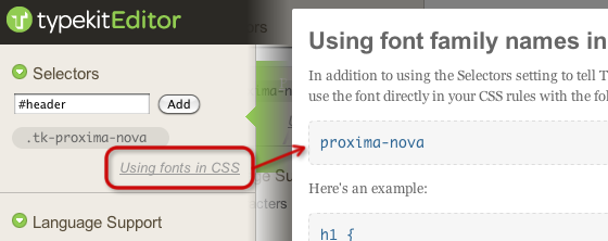 """Click """"Using fonts in CSS"""" in the Kit Editor to find the CSS font-family names to use."""