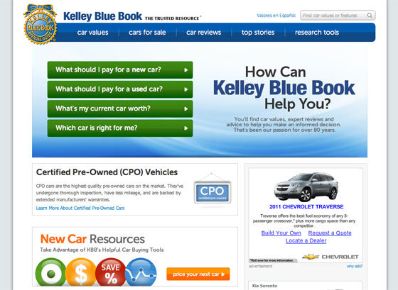 Screenshot of Kelley Blue Book