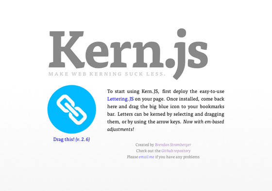 Screenshot of kern.js