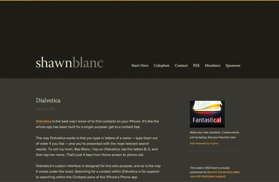 Screenshot of Shawn Blanc's site