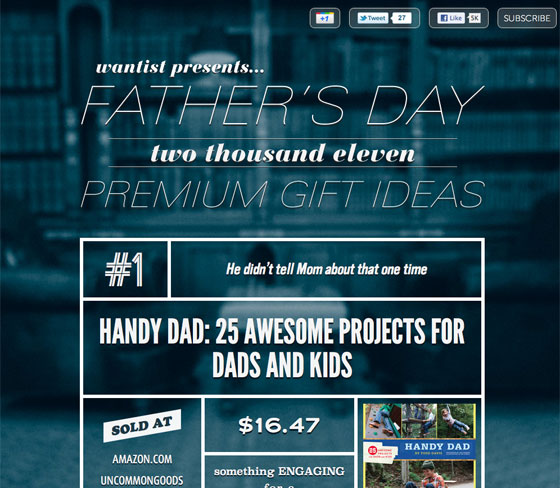 Screenshot of Wantist Father's Day site