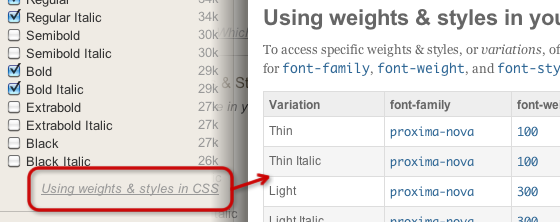 """Click """"Using weights & styles in CSS"""" in the Kit Editor to find the numeric font weights and styles to use in your CSS."""