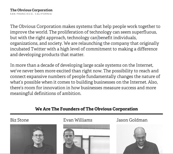Screenshot of the Obvious Corporation
