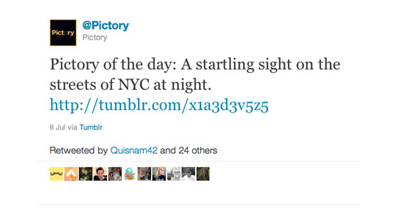 A tweet from Pictory, with text:'Pictory of the day: A startling sight on the streets of NYC at night'