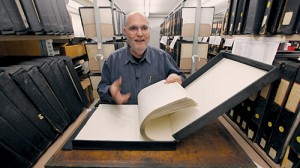 Linotype historian Frank Romano showing original font drawings for the Linotype.