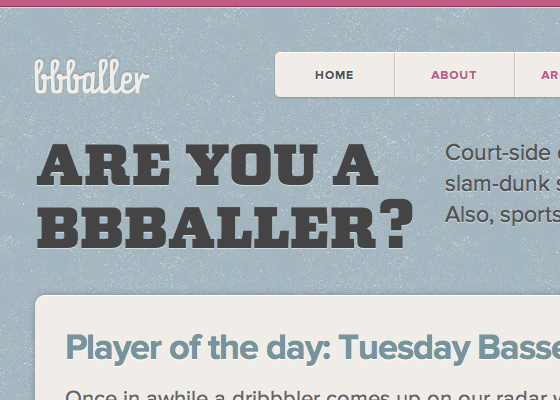 The headline of the bbballer site, in LTC Squareface