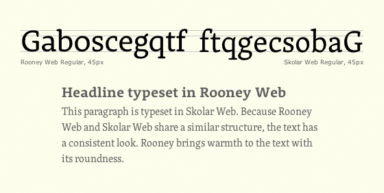 Letters set in Rooney and Skolar reveal that the two typefaces are a good match.
