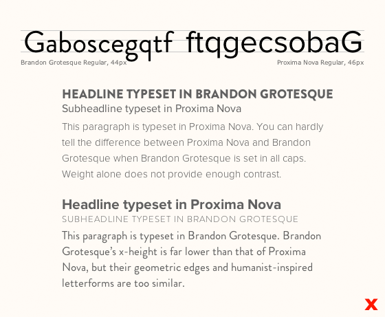 Letters set in Brandon Grotesque and Proxima Nova exhibit how there is not enough contrast between the two typefaces.