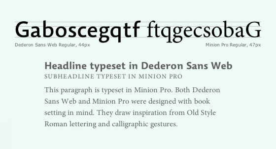 Letters set in Dederon Sans and Minion reveal their shared inspiration.