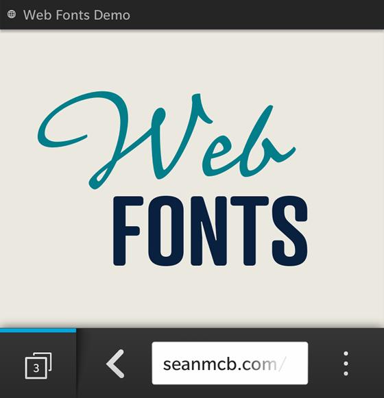 Screenshot of Typekit fonts rendering on a BlackBerry 10 device.