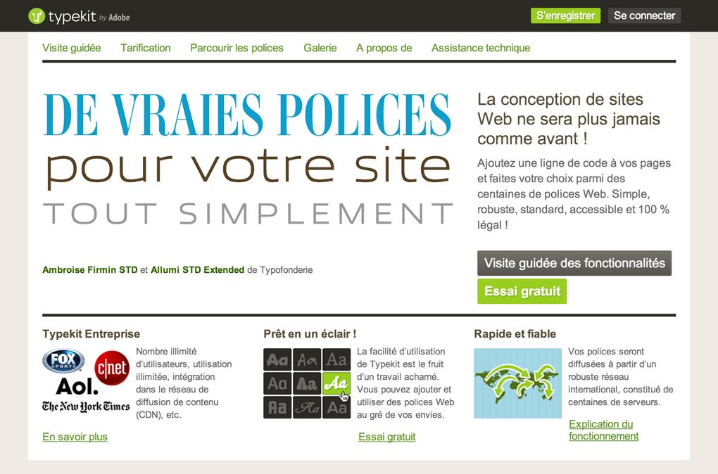 Screenshot of French Typekit site