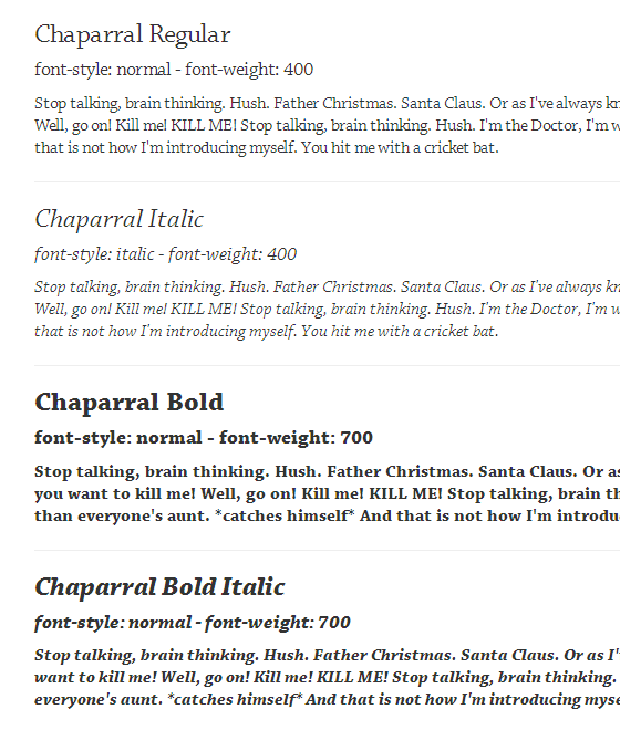 The Basic 4 Styles of Chaparral rendered in IE8