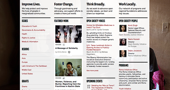Screenshot from Open Society Foundations website
