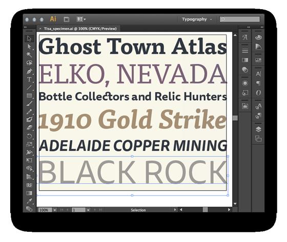 Type specimen created in Adobe Illustrator