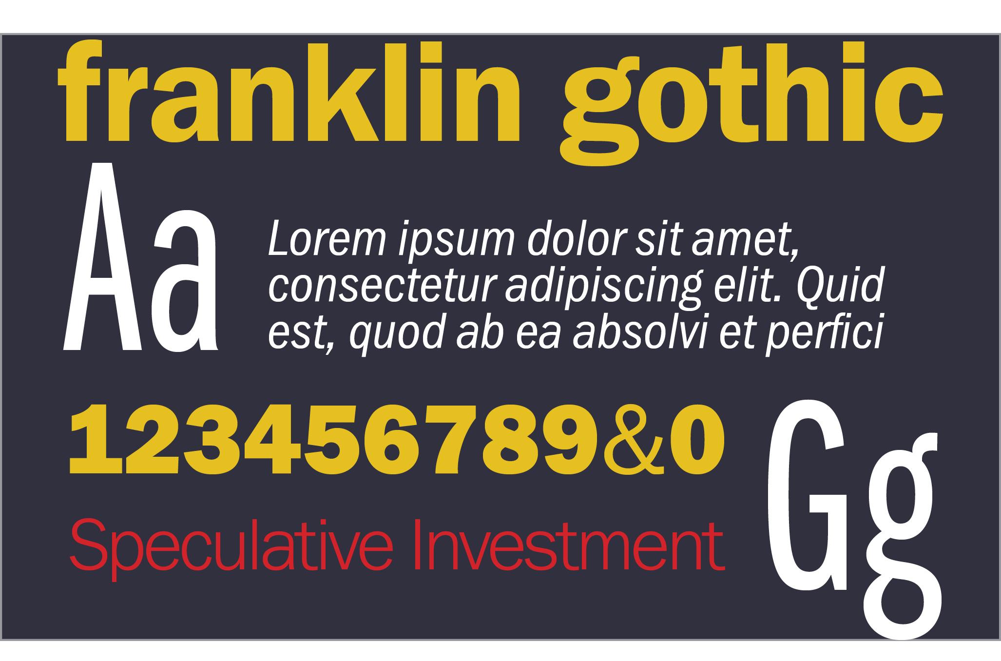 Franklin Gothic Spec Sheet