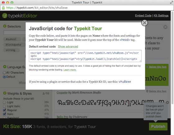 Typekit embed code screenshot