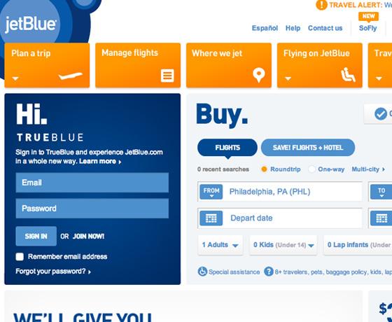 Jet Blue homepage