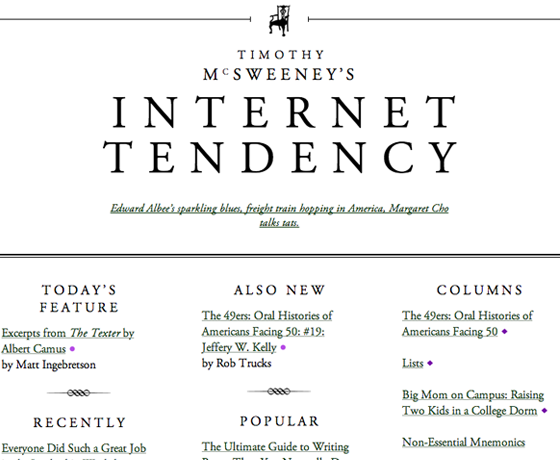 McSweeney's homepage