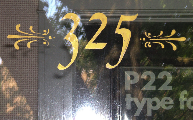 Found lettering on the door of P22's offices in Buffalo.