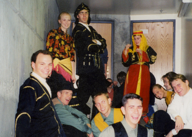 Folk Dance Group on Stairs