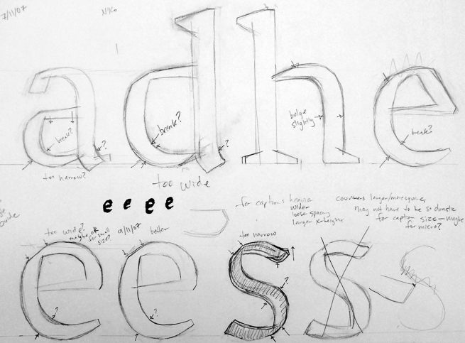 Early sketch of Grandia, Paul's typeface project for his MATD year at Reading.