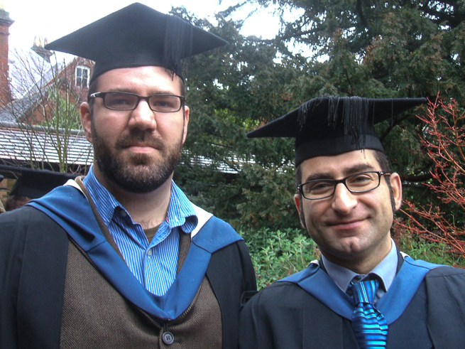 Paul on graduation day in 2008 with Reading's MATD Course Director, Gerry Leonidas.
